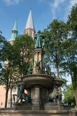 Church of St. Catherine and Henry the Lion's Fountain in Braunschweig, Germany