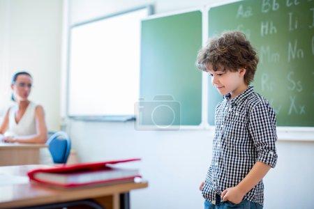 Learning boy at school