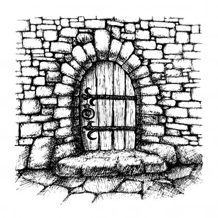 Arched  door in a stone wall , scatch