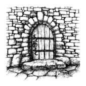 Arched  door in a stone wall  scatch