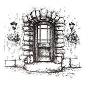 Freehand drawing of old front door