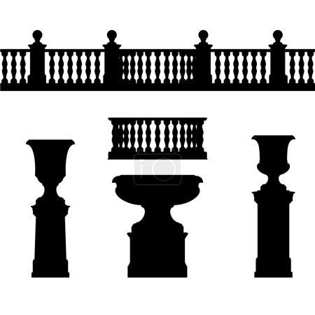 Outdoor and park elements : balustrade , decorative vase ,set of landscape elements,vector drawing