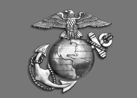 Photo pour Marine aigle, globe et ancre l'emblème du laiton en noir et blanc. - image libre de droit