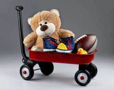 Cart full of toys.