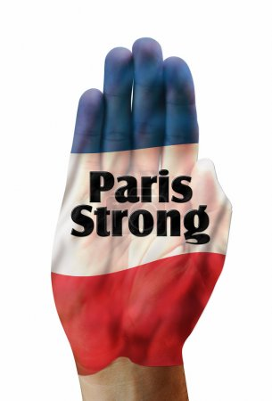 Photo for Paris strong with French flag on hand.. - Royalty Free Image