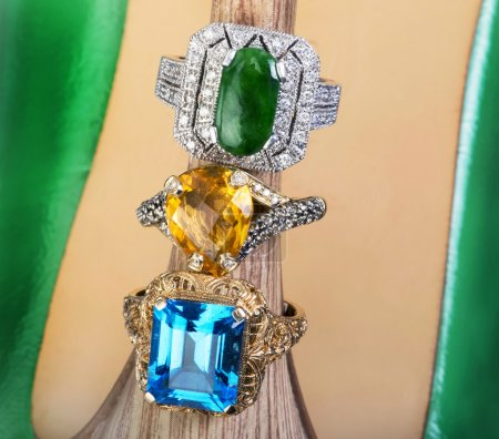 Blue Topaz, yellow citrine and imperial green jade...