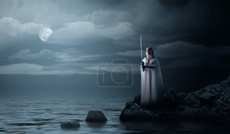 Elven girl with sword at night sea shore