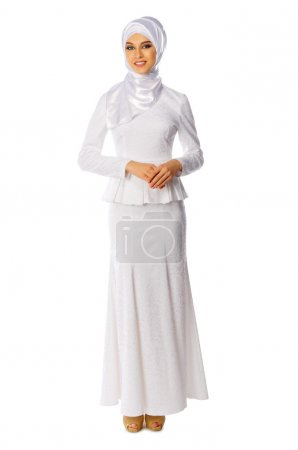 Muslim woman in white dress