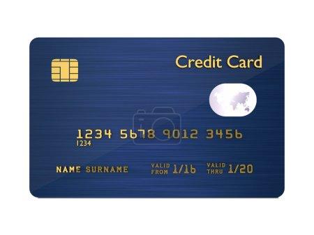 Photo pour Carte de crédit 3d bleu foncé isolé sur fond blanc - image libre de droit