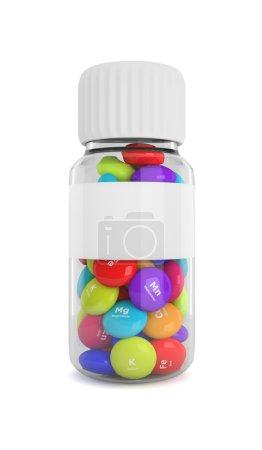 Photo pour Flacon 3d avec des éléments pilules isolées sur fond blanc - image libre de droit