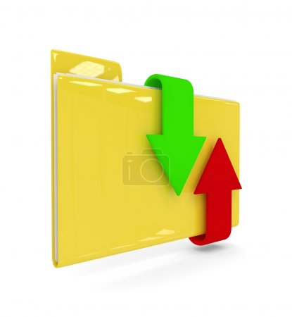 3d folder with download and upload arrows isolated over white