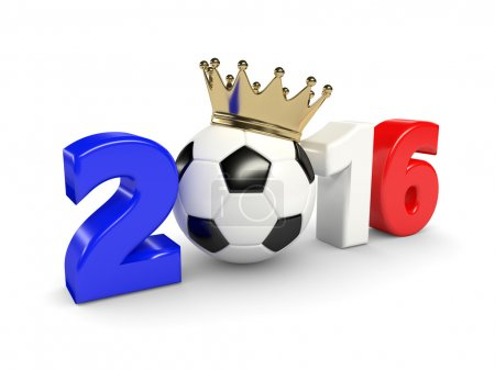 3d rendered 2016 year with soccer ball and crown isolated over w