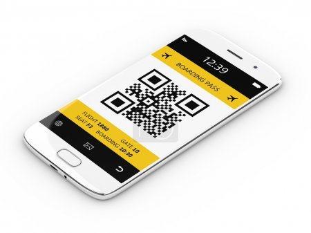 3d rendering of mobile phone with boarding pass