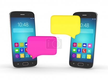 3d rendering of mobile phones with chat windows isolaled over wh