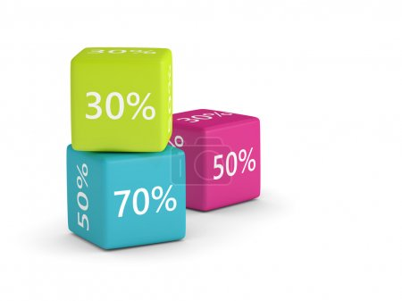 3D rendering of colorful cubes with discount sign and place for
