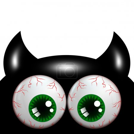 Halloween monster with green big eyes with place f...