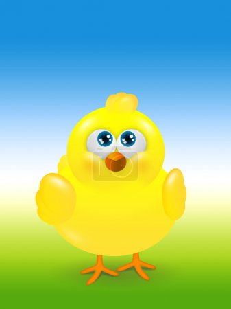 Easter chick looks up with place for text