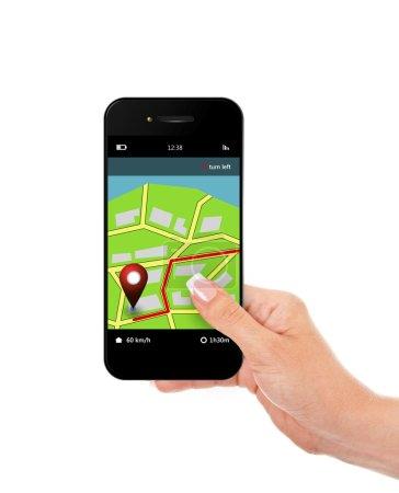 Photo pour Main tenant le téléphone mobile avec l'application de navigation isolée sur fond blanc - image libre de droit