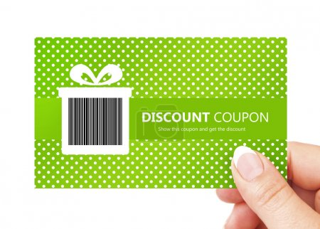 hand holding spring discount card isolated over white