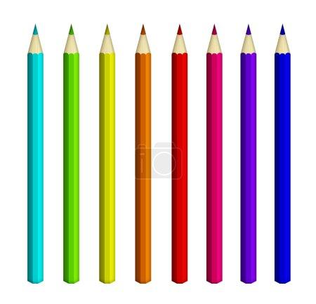 Photo pour Huit crayons de couleur isolés sur fond blanc - image libre de droit