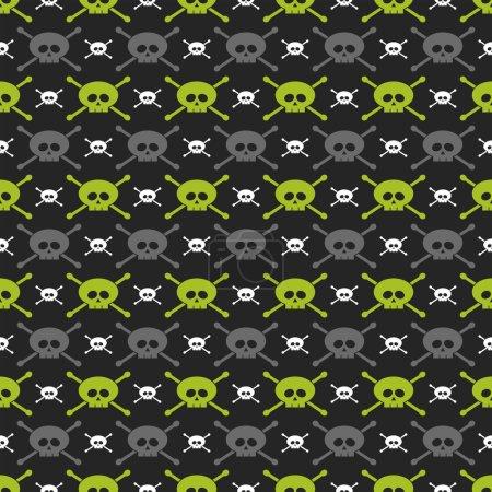 Green, gray and white skulls over dark background