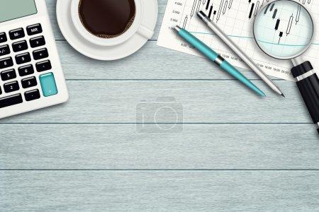 Photo pour Espace de travail avec graphique, loupe, calculatrice, papeterie et place pour le texte - image libre de droit