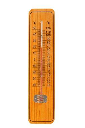 Photo pour Thermomètre en bois avec échelles Celsius et Fahrenheit - image libre de droit