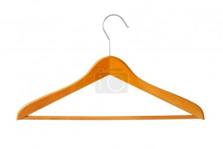 Photo for Big wooden coat hanger isolated on white background - Royalty Free Image