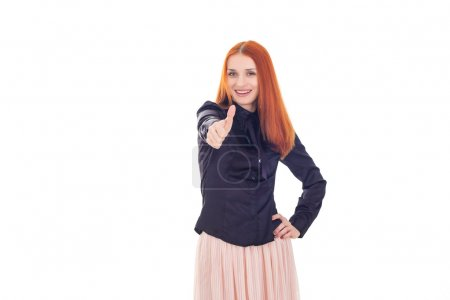 Photo pour Femme belle rouquine montre signe super - image libre de droit