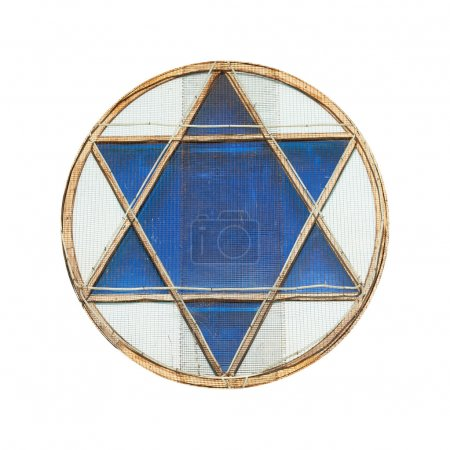 Blue star of David in window