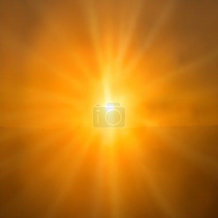 Photo pour Coucher de soleil abstrait - soleil orange brillant avec les rayons du soleil sur fond de ciel - image libre de droit