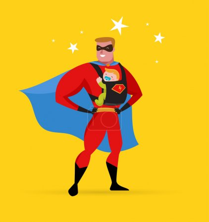 Illustration for Super daddy make fun in superhero costume with baby carrier - Royalty Free Image