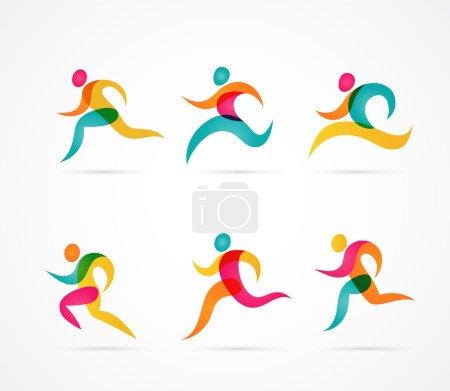 Illustration pour Marathon de course personnes colorées icônes et éléments - image libre de droit