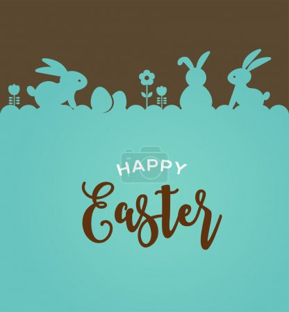 Illustration for Easter design with cute banny and lettering, hand drawn vector illustration - Royalty Free Image
