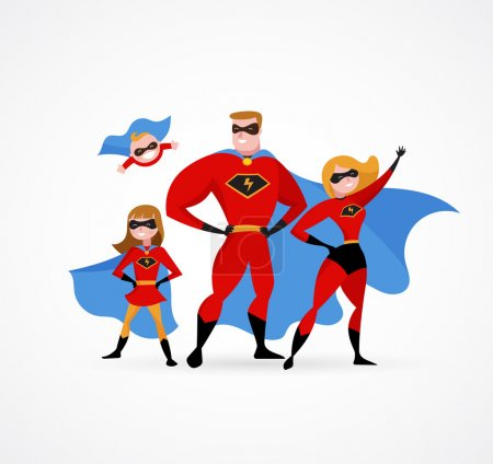 Illustration for Super family in superhero costumes - parents and kids - Royalty Free Image