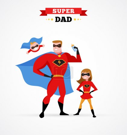 Illustration for Super daddy make fun in superhero costume with kids - Royalty Free Image