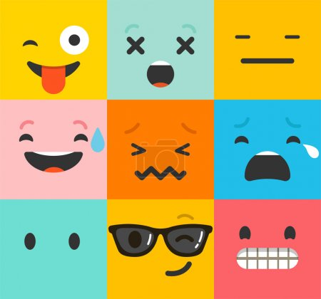 Illustration for Emoticon colorful vector icons set. Emoticon faces , set of icons. Different emotions collection. Emoticon flat pattern design - Royalty Free Image