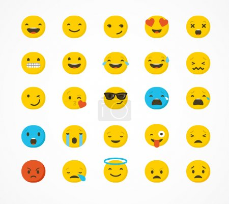 Illustration for Emoticon vector icons set. Emoticon face on a white background. Emoticon icon. Different emotions collection. Emoticon flat design - Royalty Free Image