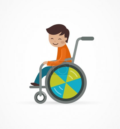 Illustration for Disabled child, boy in a wheelchair, vector illustration - Royalty Free Image