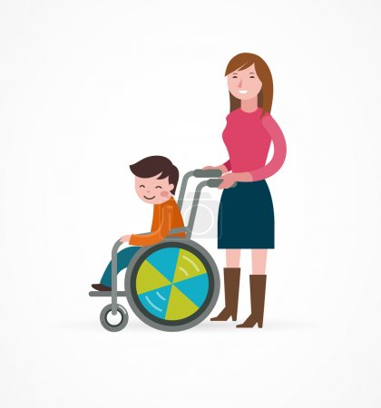 Illustration for Disabled child in a wheelchair with parent, vector illustration - Royalty Free Image