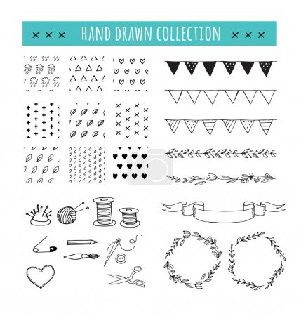 Handmade, crafts workshop icons, patterns and hand drawn illustrations