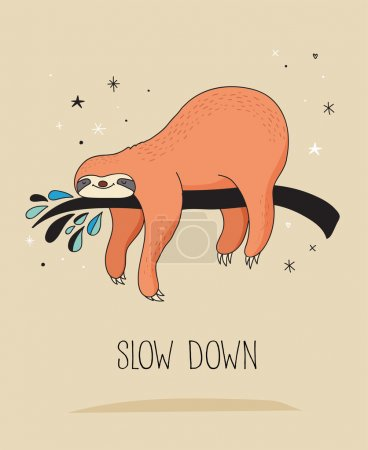 Illustration for Cute hand drawn sloths, funny vector illustrations, poster and greeting card - Royalty Free Image