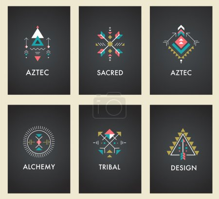 Illustration for Esoteric, Alchemy, sacred geometry, tribal and Aztec, sacred geometry, mystic shapes, symbols - Royalty Free Image
