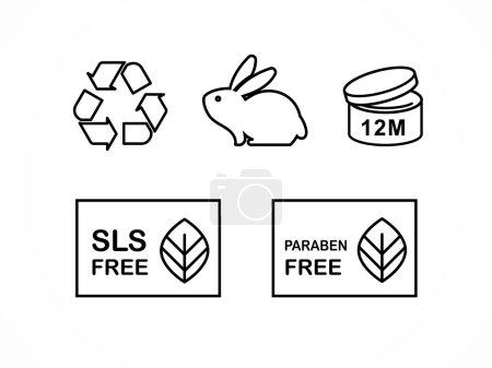 Illustration pour Ensemble de symboles d'emballage de conception de cosmétiques naturels, icônes, sans parabène, produits biologiques biologiques, non testés sur les animaux - image libre de droit