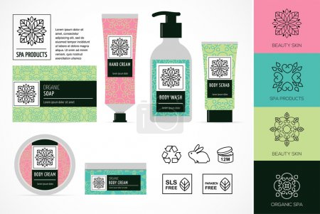 Illustration pour Ensemble de cosmétiques naturels emballage design, icônes, sans parabène, bio bio produit - image libre de droit