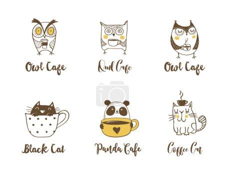 Photo pour Chouettes chouettes, chat et panda buvant du café. Symboles dessinés à la main, icônes, illustrations vectorielles - image libre de droit
