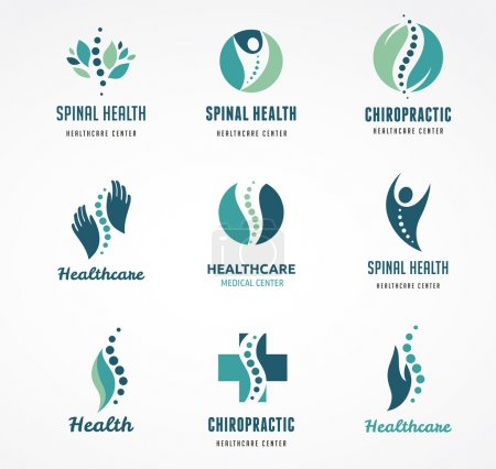 Illustration for Chiropractic, massage, back pain and osteopathy icons - Royalty Free Image