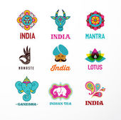 India - set of Indian icons Ganesh lotus elephant mandala and cow