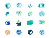 Alternative medicine and wellness yoga concept - vector watercolor icons