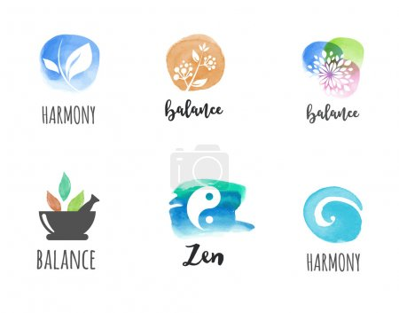 Illustration for Alternative medicine and wellness, yoga, zen meditation concept - vector watercolor icons, logos - Royalty Free Image